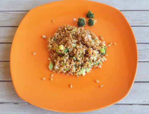 Farro con broccoli gorgonzola e noci